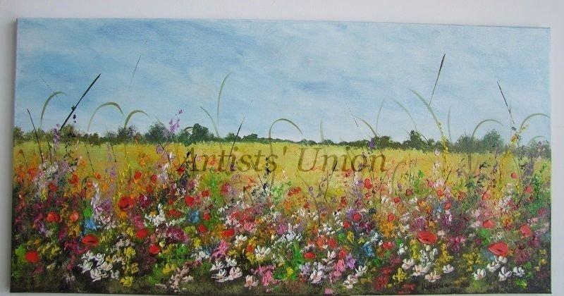 Summer Meadow Original Oil Painting Landscape Impasto Red Poppies Palette Knife Art Wild Flowers