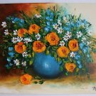 Still Life Original Oil Painting Orange Roses Impasto Flowers Daisies Bouquet Impression Blue Vase