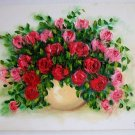 Pink Red Roses Original Oil Painting Impasto Textured Still Life Floral art Impression Palette knife