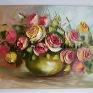 Roses Original Oil Painting Impasto Pink Yellow Still Life Palette knife Textured Flowers Offer