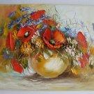Red Poppies Original Oil Painting Wild Flowers Bouquet Impasto Textured Art Still Life Linen Palette