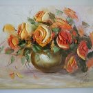 Orange Roses Original Oil Painting Textured Art Impasto Still Life Flowers Bouquet Impression Vase