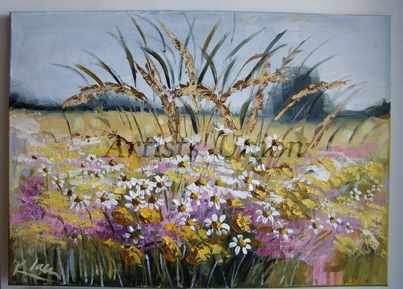 Meadow Wild Flowers Original Oil Painting Impasto Impressionist Landscape Daisies Palette Knife Art