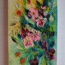 Wild Roses Original Oil Painting Impasto Garden Flowers Impressionist Palette knife Textured Ar