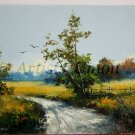 Autumn Original Oil Painting Fall Landscape Colza Fields Forest Impasto Palette Knife Country Road