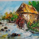 Watermill Autumn Original Oil Painting River Landscape Fall Palette Knife Impasto Art Impressionism