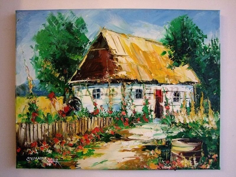 Landscape Farmhouse Rooster Original Oil Painting Cottage Garden Impasto Textured Palette Knife Art