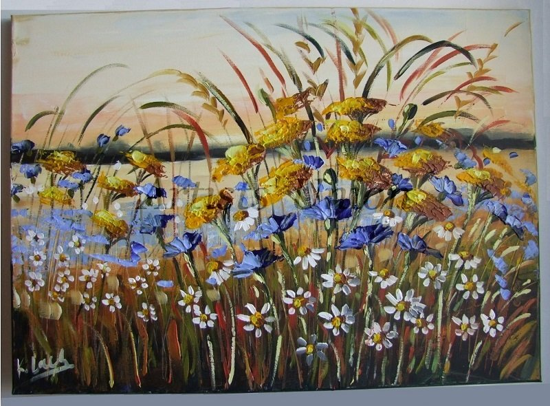 Meadow Original Oil Painting Landscape Impasto Daisies Blue Cornflowers Impressionism Palette Knife