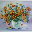 Sunflowers Impasto Original Oil Painting Still Life Palette knife Textured Cornflowers Yellow Blue