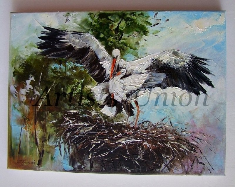 Storks Original Oil Painting Nest Bird Art Modern Impasto Palette knife Textured Störch Cigogne Nid