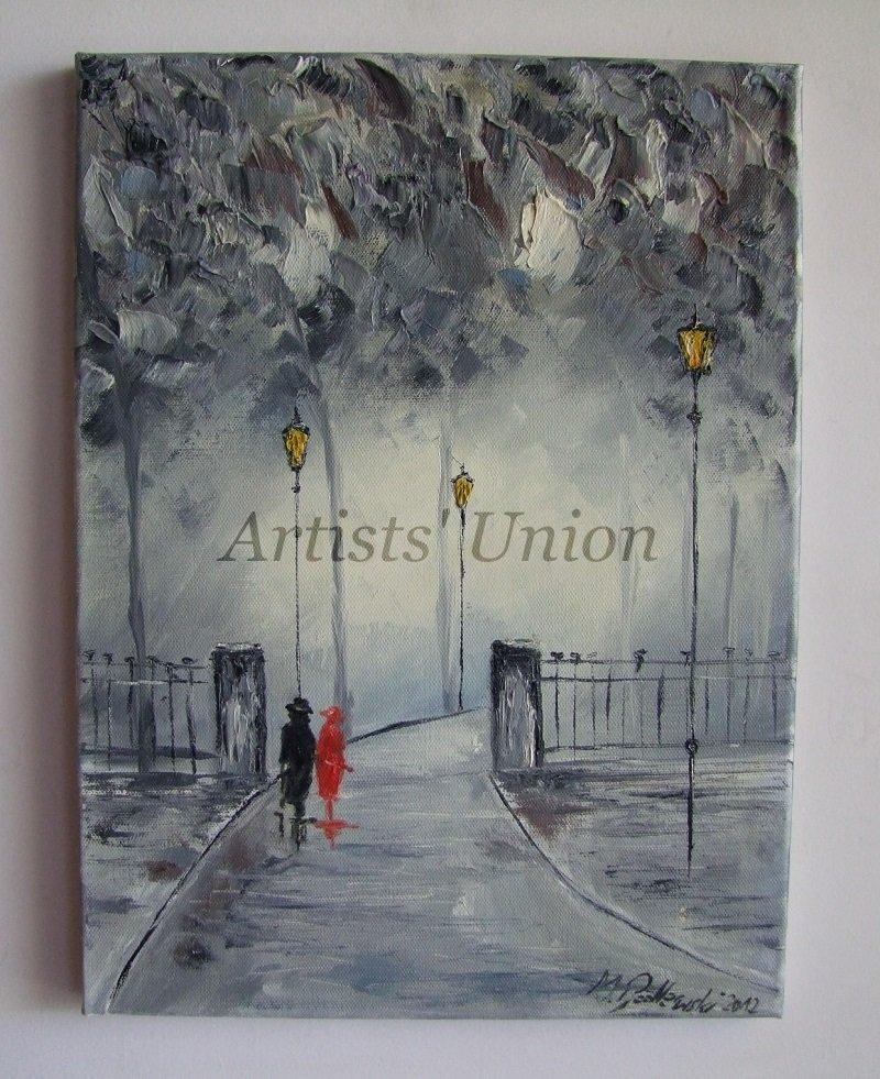Original Oil Painting Rain Walking People Impasto Couple City Park Storm Town Textured Palette knife