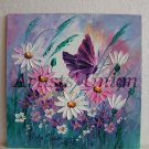Daisies Original Oil Painting Butterfly Pink White Wild Flowers Impasto Palette Knife Textured Fine