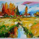 Autumn Landscape Original Oil Painting Palette Knife Art Impasto Fall Impression Fields Lake Cottage