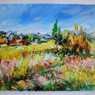 Landscape Impasto Original Oil Painting Meadow Summer Fields Flowers Colorful Textured Palette Knife