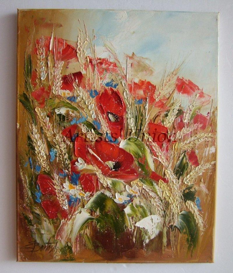 Red Poppies Original Oil Painting Meadow Rye Grain Ears Impasto Wild Flowers Field Palette Knife Art