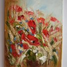 Red Poppies Original Oil Painting Meadow Rye Grain Ears Impasto Wild Flowers Field Palette Knife Art