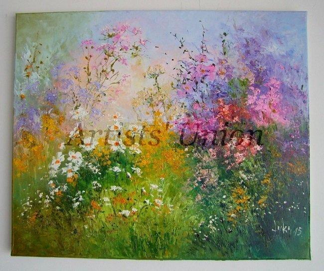 Meadow Original Oil Painting Wild Flowers Daisies Impasto Pink Purple Yellow Palette Knife Textured