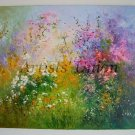 Meadow Original Oil Painting Wild Flowers Daisies Impasto Pink Purple Yellow Palette Knife Textured