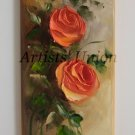 Roses Original Oil Painting Orange Flowers Textured Art Impasto Still Life Bouquet Impression Linen
