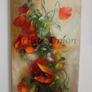 Red Poppies Original Oil Painting Impasto Wild Flowers Bouquet Textured Art Still Life Palette Knife