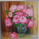 Pink Peonies Original Oil Painting Still Life Flowers Bouquet Vase Fine Art Peony Garden Blossoms