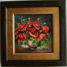 FRAMED Red Poppies Original Oil Painting Impasto Fine Art Vase Wild Flowers Still Life Textured  Art