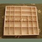Organizer 28 Sections Wood Tray, Large Display Case Jewelry Keepsake Box Crafts Divider Desk Storage