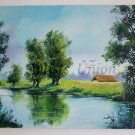 River Landscape Original Fine Oil Painting Spring Green Blue Trees Impressionist Countryside Fields