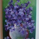 Violets Still Life Original Oil Painting Purple Wild Flowers Bouquet Fine Art Impression Vase EU Art