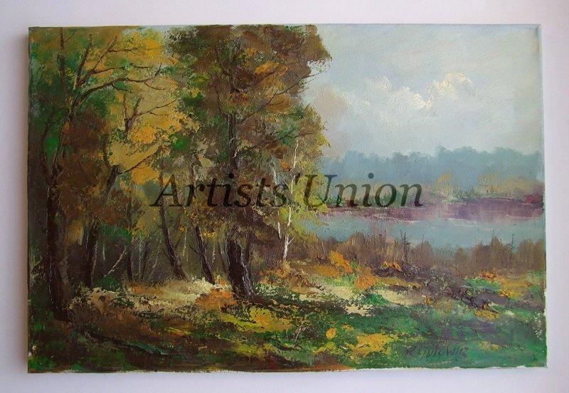 S-Autumn Landscape Lake Original Oil Painting Impasto Fall Forest Palette knife Textured Fine Art