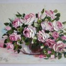 Roses Original Oil Painting Pink White Flowers Impasto Still Life Palette knife Textured Bouquet