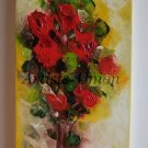 Red Roses Original Oil Painting Impasto Palette knife Textured Art Flowers Bouquet EU Artists Union
