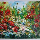 Red Poppies Meadow Original Oil Painting Impasto Palette knife art Textured Flower Daisies EU Artist