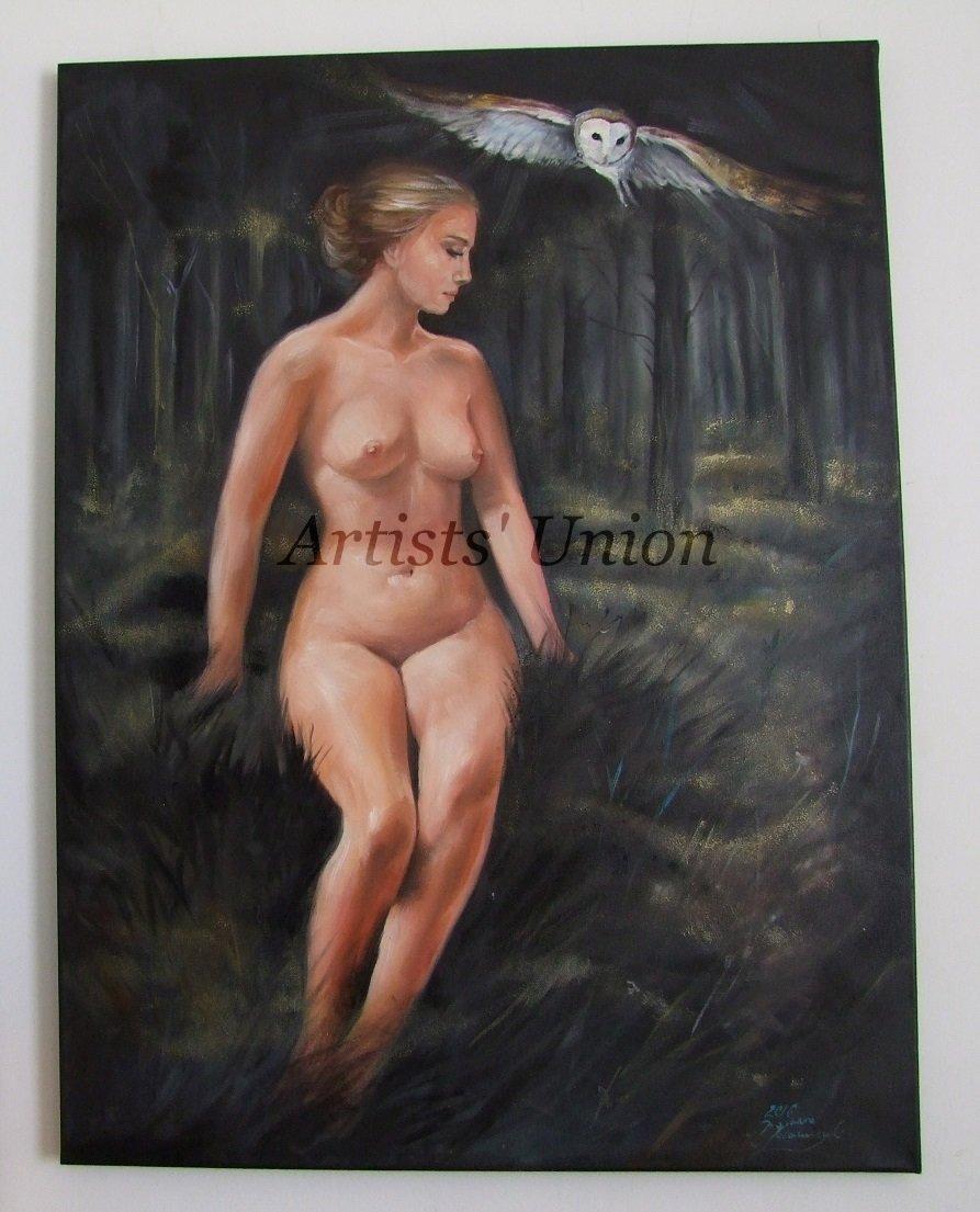 Nude Original Oil Painting Artistic Act Woman Figure Portrait Landscape Owl Forest European Fine Art