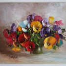 Pansies Original Oil Painting Still Life Impasto Red Purple Yellow Textured Flowers Palette knife