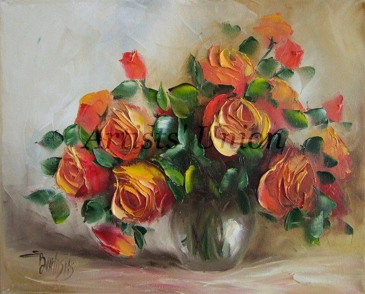 Orange Roses Original Oil Painting Still Life Textured Art Impasto Flowers Bouquet Impression Vase