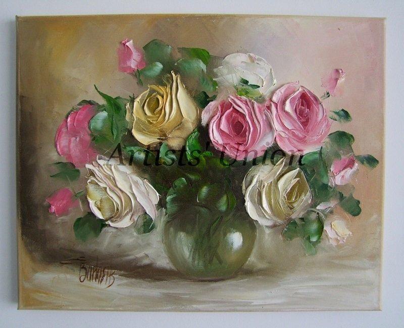 Roses Original Oil Painting Pink White Flowers Still Life Textured Art Impasto Bouquet Glass Vase EU