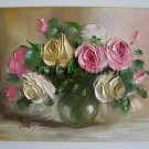 Roses Original Oil Painting Pink White Flowers Still Life Textured Art Impasto Bouquet Glass Vase EU