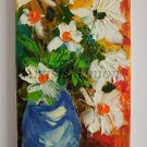 White Daisies Original Oil Painting Palette Knife Still Life Impasto Wild Flower Impression EU Arti