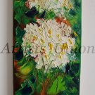 Hydrangea Original Oil Painting Hortensia Impasto White Blue Flowers Textured Art Europe Artist