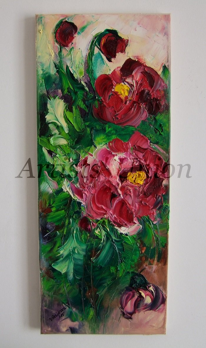 Peonies Original Oil Painting Crimson Peony Impasto Flowers Palette Knife Textured European Artist