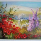 Meadow Original Oil Painting Red Poppies Impasto Floral Palette Knife Pink Purple Flowers Textured