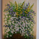 White Daisies Original Oil Painting Impasto Still Life Purple Flowers Palette Knife EU Artist