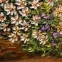 White Daisies Original Oil Painting Impasto Still Life Purple Flowers Palette Knife EU Artist