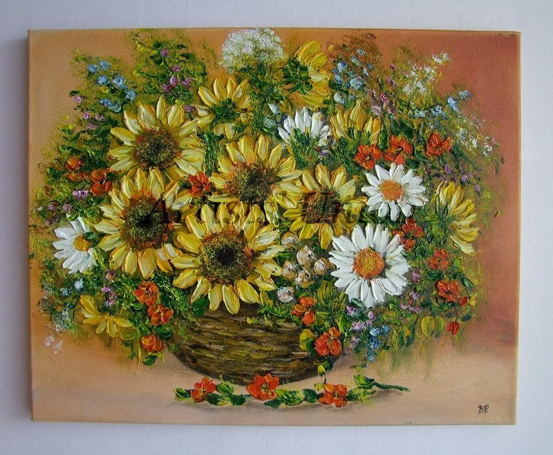 Sunflowers Original Oil Painting Still Life Impasto Daisies Wild Flowers Bouquet Palette EU Artist