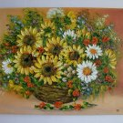 Sunflowers Original Oil Painting Still Life Impasto Daisies Wild Flowers Bouquet Palette EU Artist