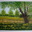 Spring Original Oil Painting Landscape Impasto Countryside Wetlands Trees Flowers Fields EU Artist