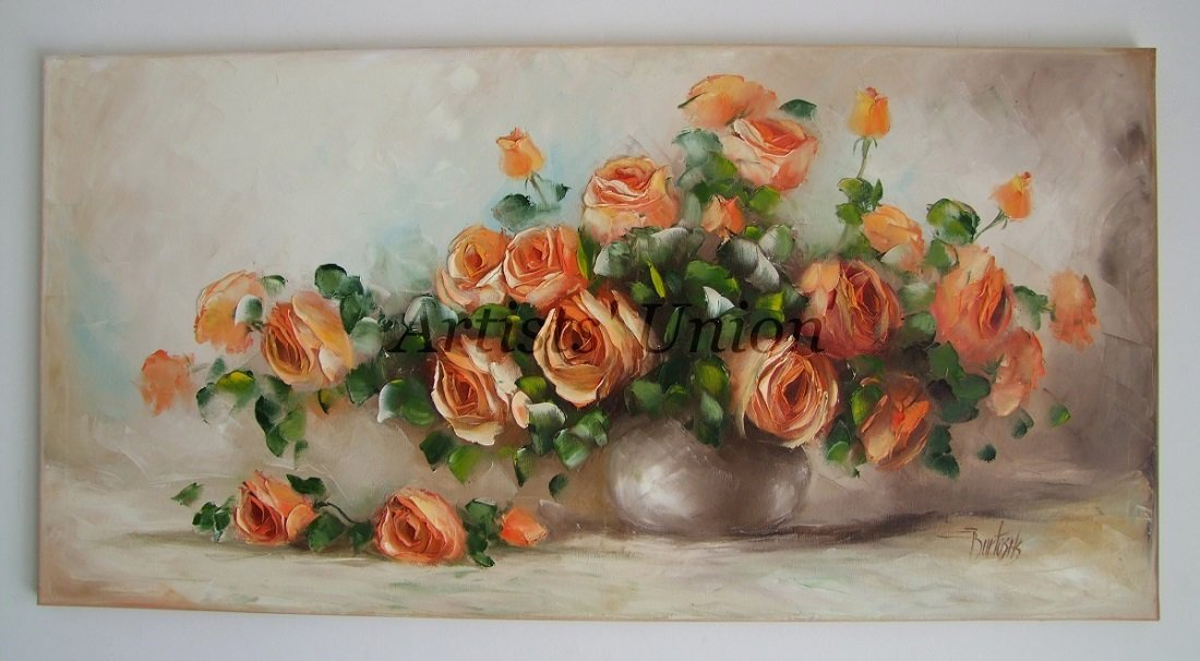 Orange Roses Large Original Oil Painting Still Life Textured Art Impasto Flowers Bouquet EU Artist