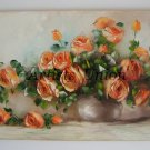 Orange Roses Large Original Oil Painting Still Life Textured Art Impasto Flowers Bouquet EU Artist