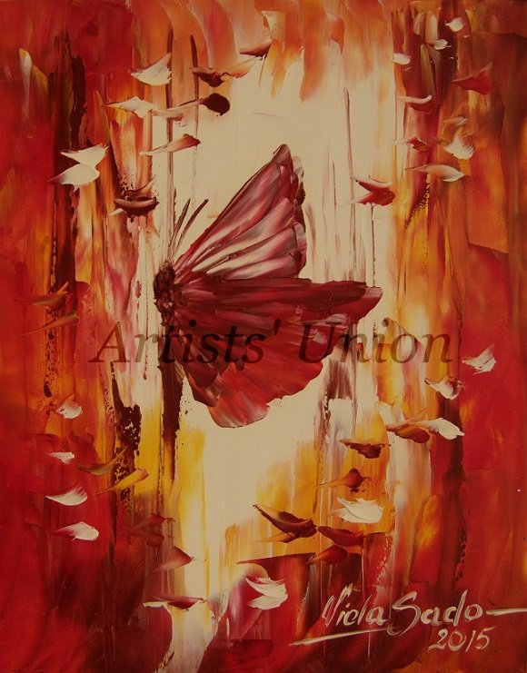 Autumn Butterfly Original Oil Painting Impasto Palette knife Impression Abstract Board Europe Artist